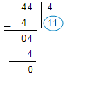 44 bölü 4 = 11