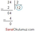 24 bölü 2 = 12